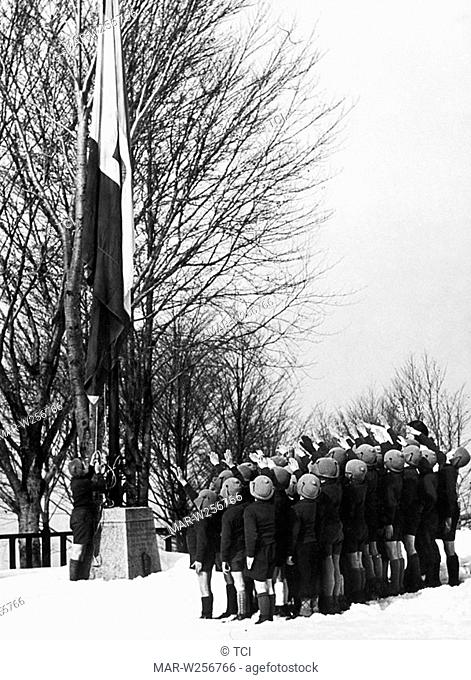 italy, holiday camp, fascis flag-raising ceremony, 1930-40