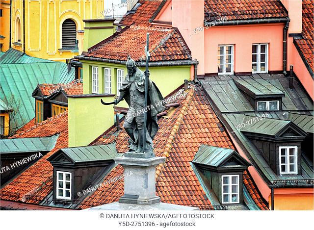 Statue of King Sigismund III - Zygmunt III Waza, in background rooftops of Old Town townhouses, Plac Zamkowy - Castle Square, Old Town of Warsaw, UNESCO, Poland