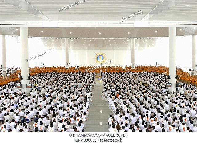 Dining hall in the Wat Phra Dhammakaya temple, assembly of monks and students, Khlong Luang District, Pathum Thani, Bangkok, Thailand