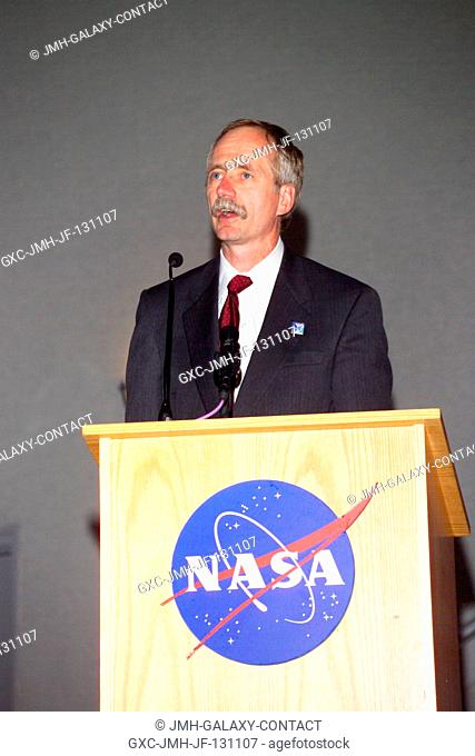 William H. Gerstenmaier, NASA ISS Program Manager, speaks from the ...
