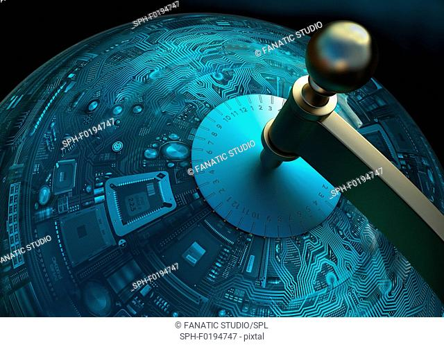 Conceptual illustration of globalization of technology