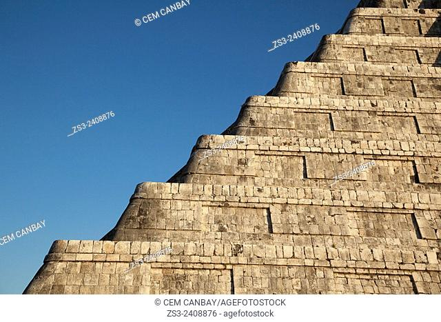 Detail of the Pyramid of Kukulcan-El Castillo, Maya Archeological Site Chichen Itza, Yucatan Province, Mexico, Central America