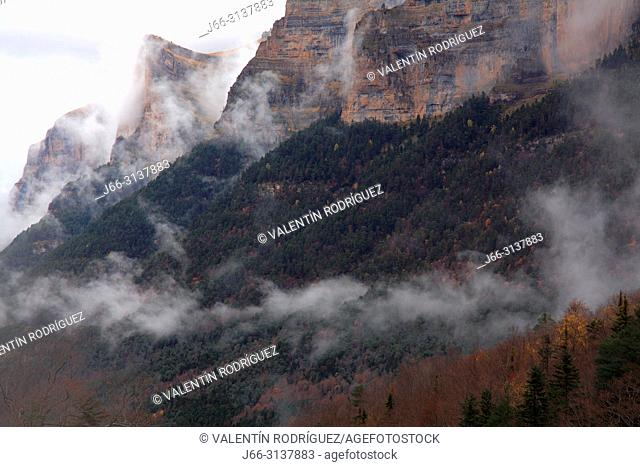 Landscape with low clouds in the Ordesa valley. Ordesa y Monte Perdido national park. Huesca