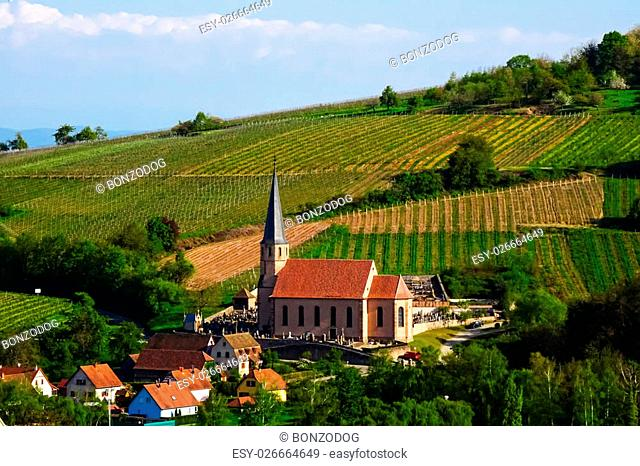 Old church in little village overview, Andlau, Alsace, France
