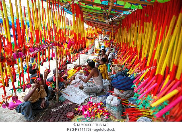 Colourful handmade toys shop on account of Baishakhi fair or the Baishakhi mela which begins on the Bengali New YearÆs Day or the Pahela Baishakh Veramara...