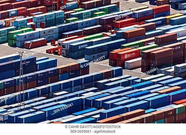 The container storage facility in the Port of Barcelona, viewed from Montjuic Hill, Barcelona, Cataluna, Spain