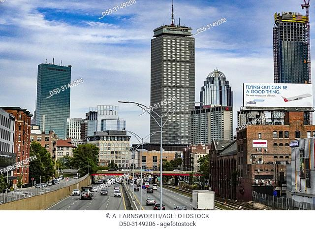 Boston, Massachusetts USA Massachusetts Turnpike and Prudential building in the downtown
