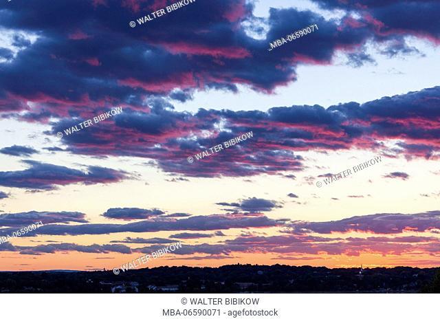 USA, Maine, Portland, sunset sky from Munjoy Hill