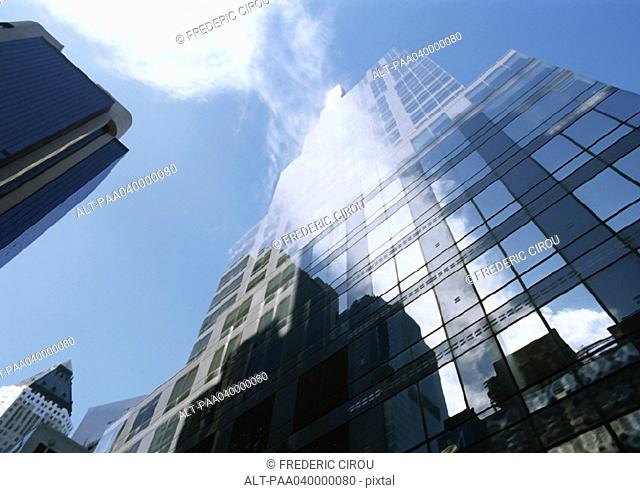 United States, New York, skyscrapers, low angle view