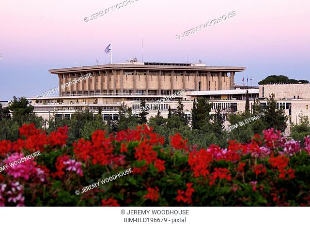 Knesset and blooming flowers
