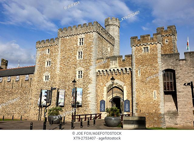 south gate entrance to cardiff castle Cardiff Wales United Kingdom