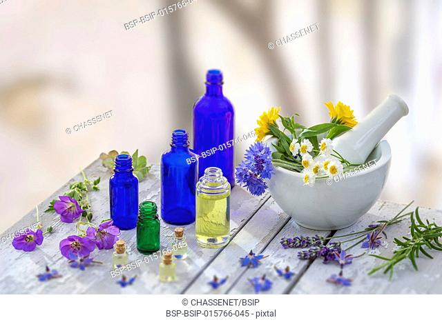 Essential oil and perfume from medicinal plant in mortar surrounded by petals
