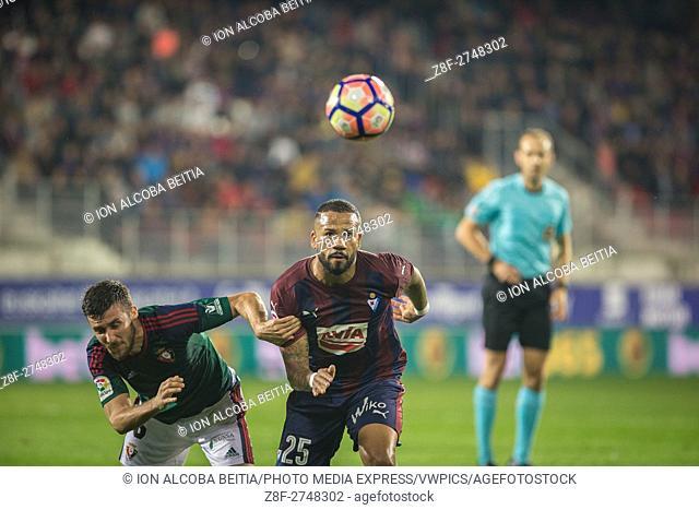 25 Bebe, 6 Oier. Match day 8 game of la Liga Santander 2016-2017 season between SD EIbar and Osasuna played Ipurua Stadium on Sunday October 16th, 2016