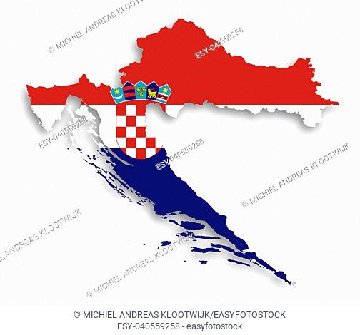 Map of Croatia filled with flag, isolated