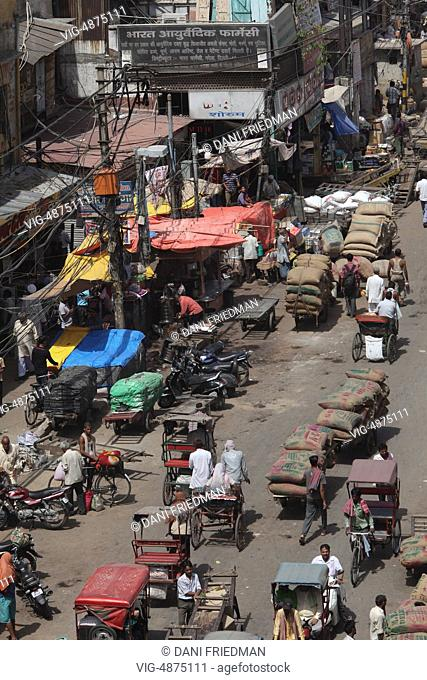 Aerial view of a busy street in the Chandni Chowk Market in Old Delhi, India. Chandni Chowk is Asia's largest wholesale market