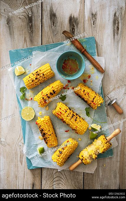 Chargrilled corn with chilli buttter and fresh lime