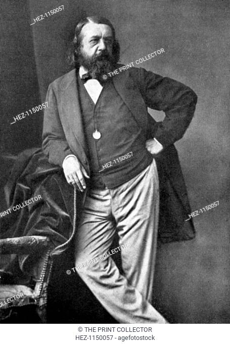Theophile Gautier, French poet, dramatist, novelist, journalist, and literary critic, 19th century. Portrait of Gautier (1811-1872) who became a leader of the...
