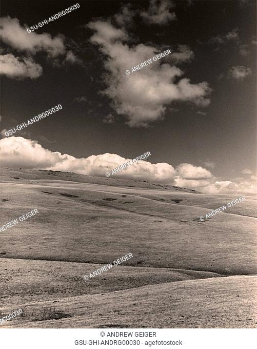 rolling hills, field, clouds, sky
