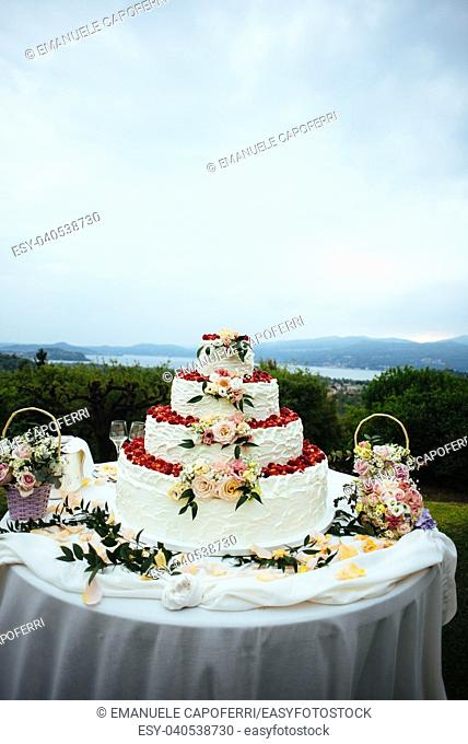 cream and strawberries wedding cake outdoors in the garden decorated with flowers and rose petals