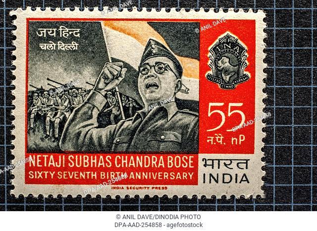 Vintage stamp of netaji subhas chandra bose, india, asia