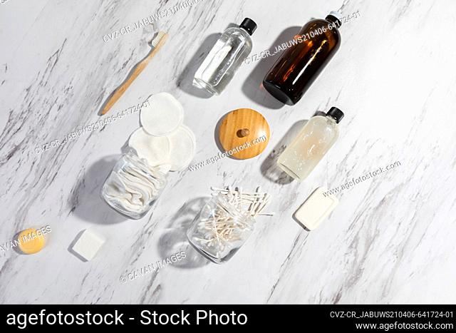 Still Life on Marble Surface of Eco-Friendly and Reuseable Produ
