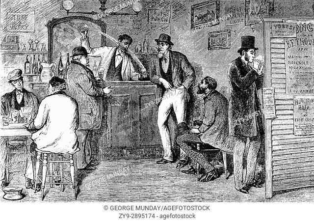 1880: A Bar in New York City,. New York State, United States of America