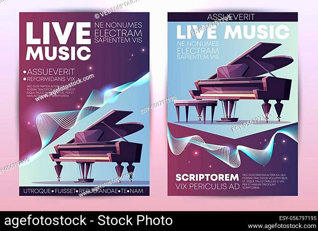 Classical or jazz music festival, symphonic orchestra live concert, piano virtuoso performance modern design promo poster