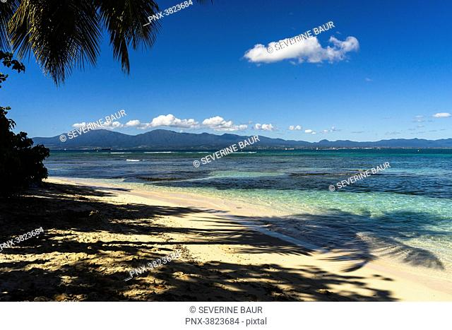 Beach and a view on the Guadeloupe's island, Gosier island, Guadeloupe, France