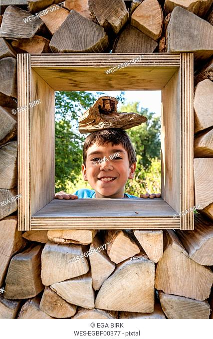 Portrait of smiling boy looking through window in logpile