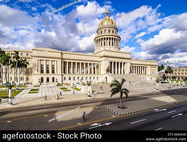 El Capitolio and Paseo del Prado, elevated view, Havana, La Habana Province, Cuba