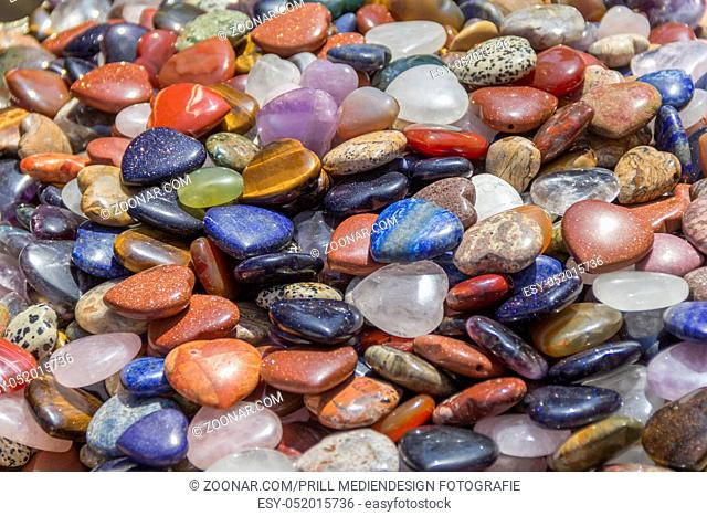 full frame colorful polished gemstones background