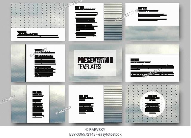 Set of 9 templates for presentation slides. Gray cloudy sky. Collection of abstract multicolored backgrounds. Natural geometrical patterns
