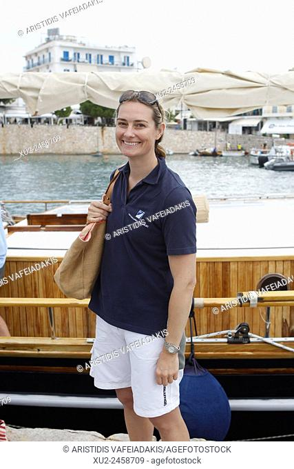"Sarah Webb Gosling as member of King Constantine crew on his traditional boat """"Afroessa during the """"Spetses Classic Yacht Race Regatta"""""