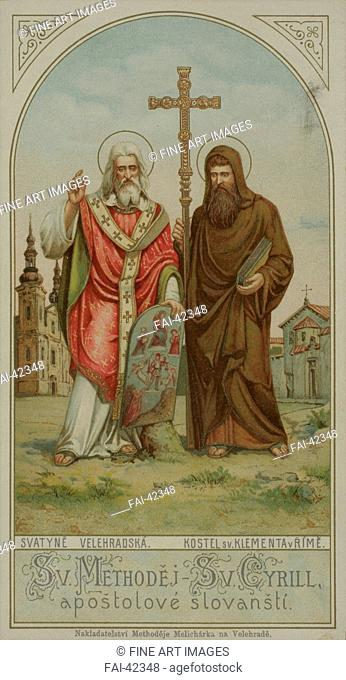 Saints Cyril and Methodius by Anonymous /Chromolithography/Art Nouveau/Czechia/Private Collection/Bible/Graphic arts/Die Heiligen Kyrill und Methodius von...