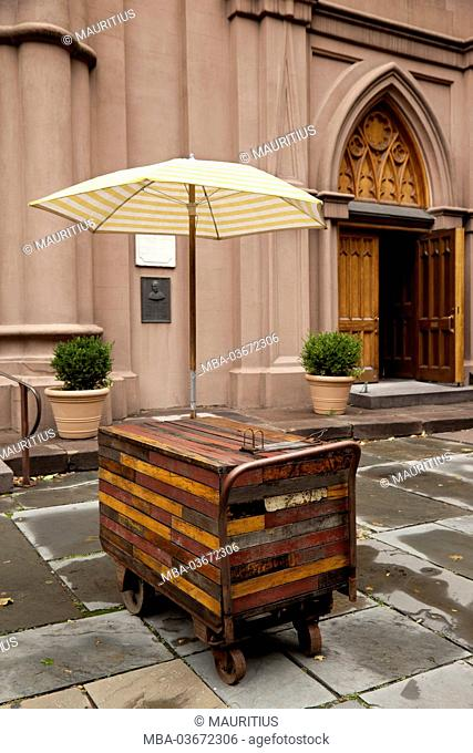 The USA, New York City, town, architecture, church, wooden carriage, America