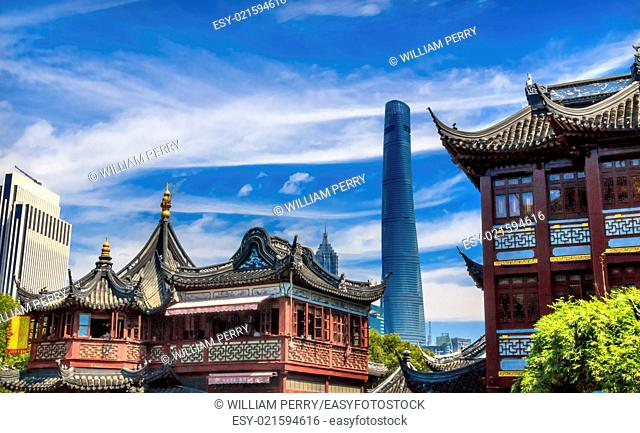 Shanghai Tower, Second Tallest Building in World, Jin Mao Tower from Yuyuan Garden, Old Town, Shanghai China