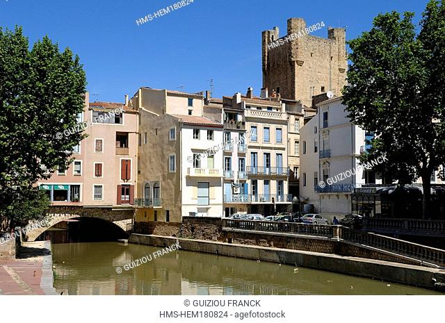 France, Aude, Narbonne, Canal de la Robine, listed as World Heritage by UNESCO
