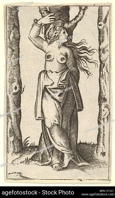 Saint Agatha tied to a tree, her breasts have been cut off, from the series 'Piccoli Santi' (Small Saints). Artist: Anonymous; Artist: After Marcantonio...