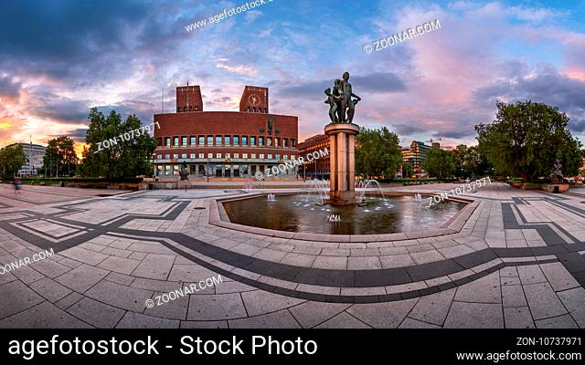 OSLO, NORWAY - JUNE 12, 2014: Oslo City Hall in the Evening. The construction started in 1931, but was paused by the outbreak of World War II