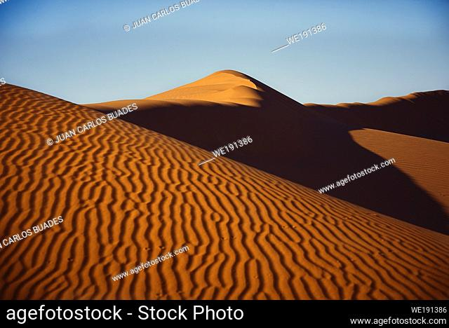 Mergouza desert landscape in southern Morocco with dunes and clear skies