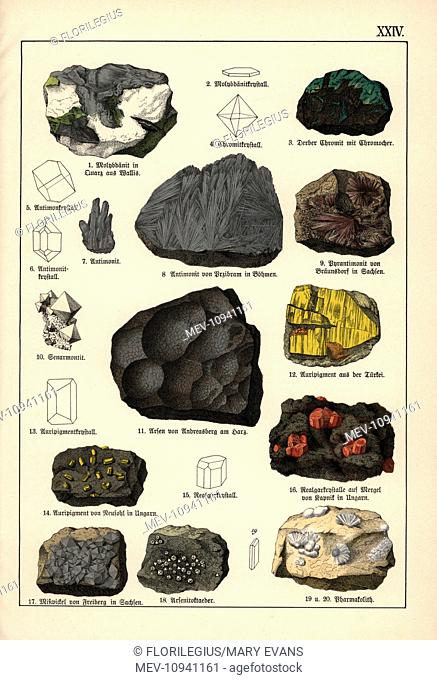 Metals including molybdenite, arsenic, orpiment, etc. Chromolithograph from Dr. Adolph Kenngott's Mineralogy section in Gotthilf Heinrich von Schubert's Natural...