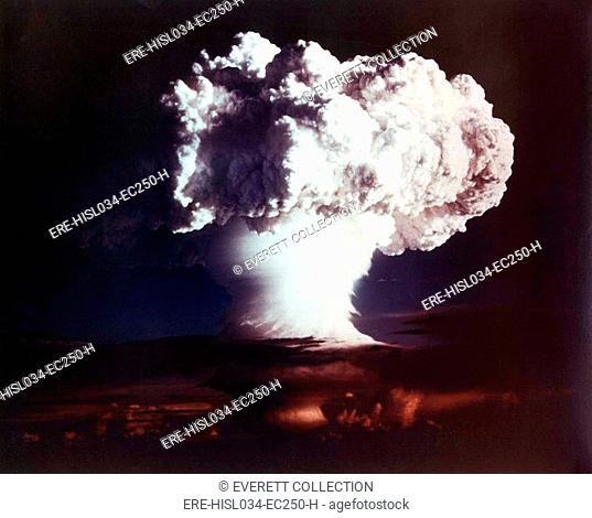 The MIKE shot, was the first successful full-scale test hydrogen bomb, on Oct. 31, 1952. When detonated it yielded 10.4 megatons