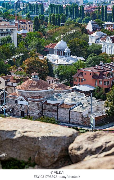 A vertical view of beautiful town Plovdiv, Bulgaria, some 135 km from Sofia