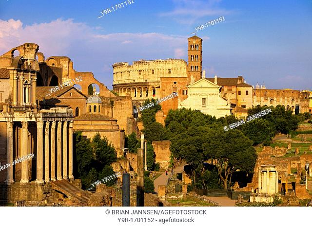 The last light of sunset on the ruins of the Roman Forum, Rome Lazio Italy