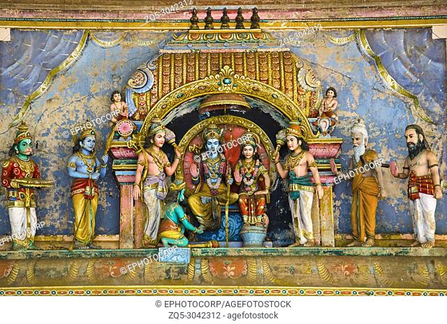 Lord Rama, Lord Lakshmana and Goddess Sita, Carved Idols on the Gopuram of the temple, On the way to Kumbakonam, Tamil Nadu, India