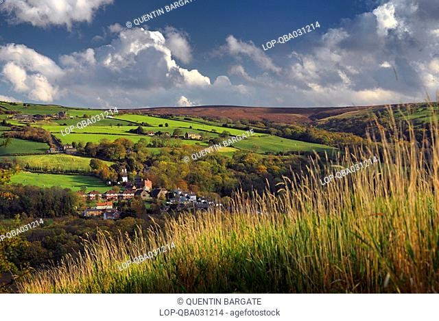 England, North Yorkshire, Grosmont. View over the village of Grosmont in the North York Moors National Park