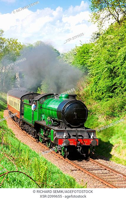 steam train, Bo'Ness Kinneil Railway, Lothians, Scotland