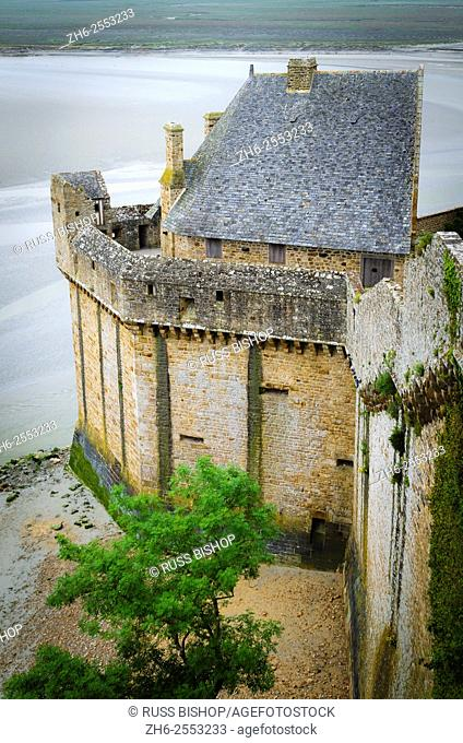 Exterior wall at low tide, Mont Saint-Michel, Normandy, France