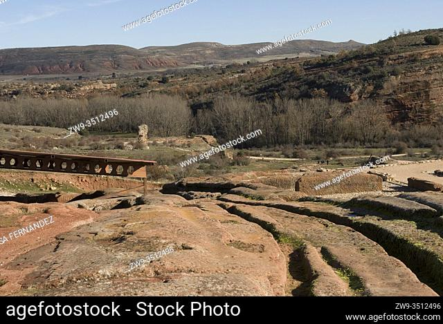 Roman city of Tiermes, Centuries I to III A.C., aqueduct carved in sandstone and landscape, Pela Mountains, Montejo de Tiermes, province of Soria