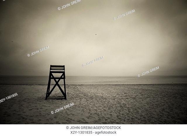 Moody lifeguard stand on beach, Cape Cod, MA